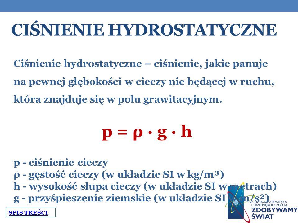 CIŚNIENIE HYDROSTATYCZNE Ciśnienie hydrostatyczne – ciśnienie, jakie panuje na pewnej głębokości w cieczy nie będącej w ruchu, która znajduje się w polu grawitacyjnym.
