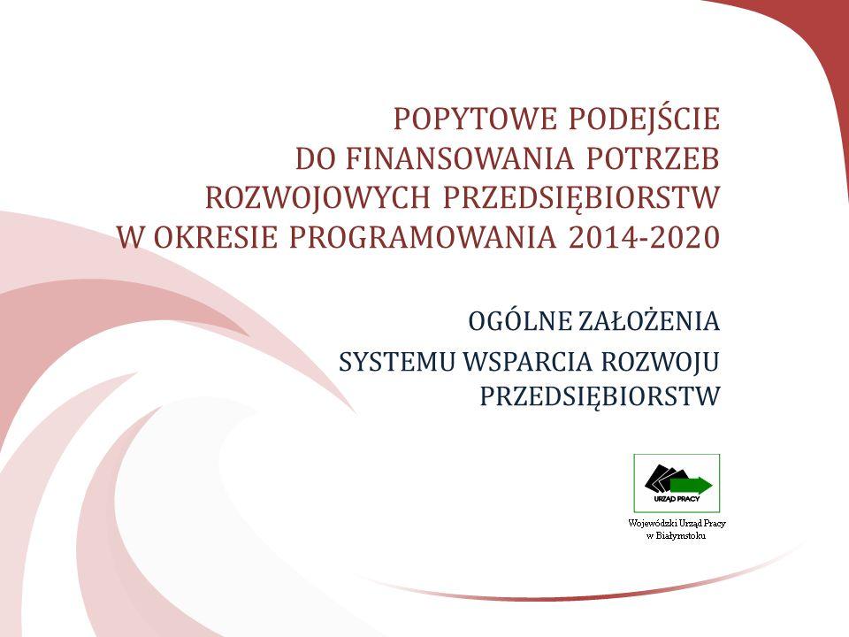 POPYTOWE PODEJŚCIE DO FINANSOWANIA POTRZEB ROZWOJOWYCH PRZEDSIĘBIORSTW W OKRESIE PROGRAMOWANIA 2014-2020 OGÓLNE ZAŁOŻENIA SYSTEMU WSPARCIA ROZWOJU PRZEDSIĘBIORSTW