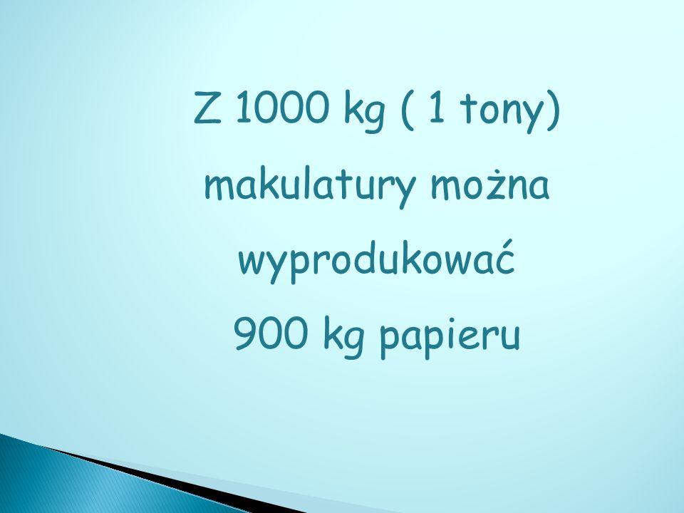 Z 1000 kg ( 1 tony) makulatury można wyprodukować 900 kg papieru