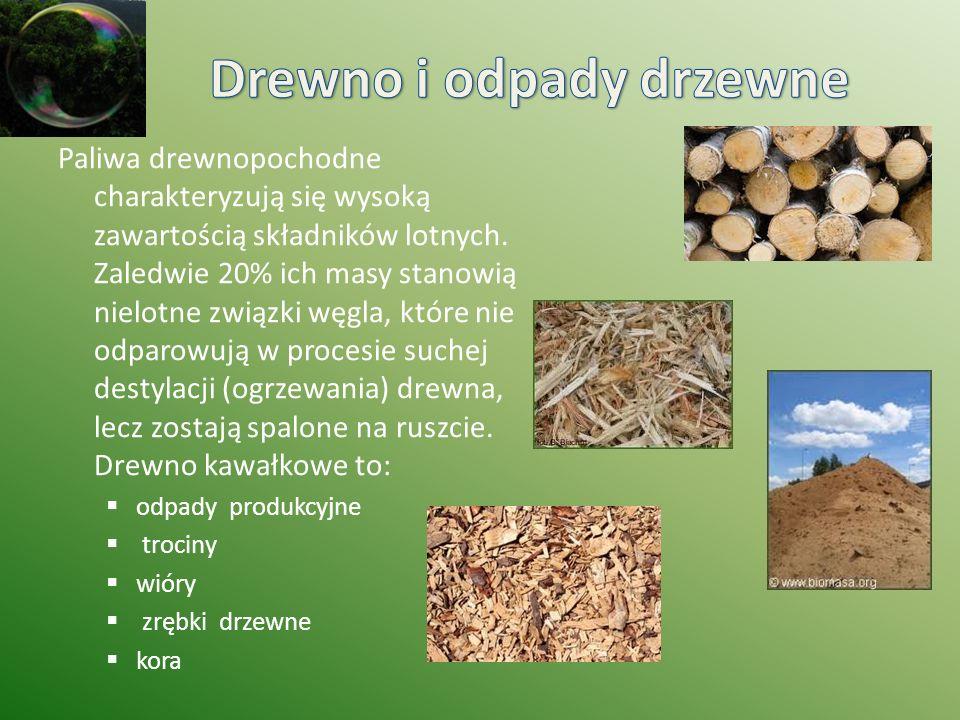 Paliwa drewnopochodne charakteryzują się wysoką zawartością składników lotnych. Zaledwie 20% ich masy stanowią nielotne związki węgla, które nie odpar