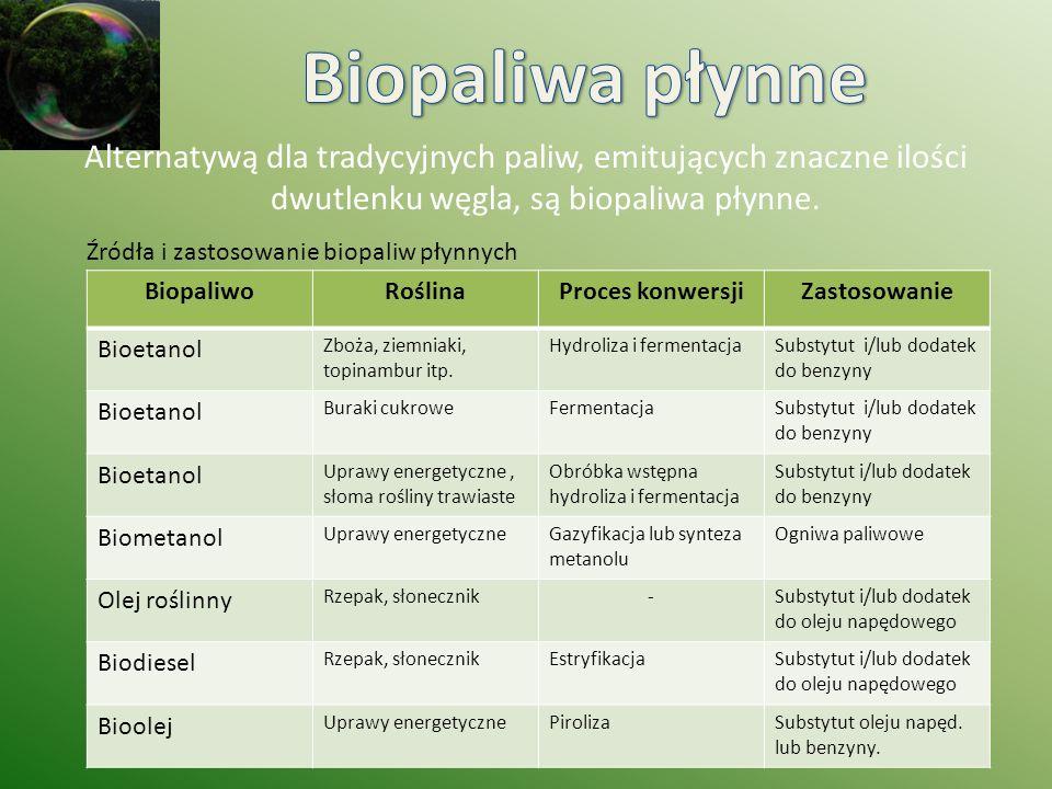 BiopaliwoRoślinaProces konwersjiZastosowanie Bioetanol Zboża, ziemniaki, topinambur itp. Hydroliza i fermentacjaSubstytut i/lub dodatek do benzyny Bio