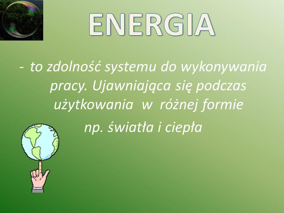 chemicznej – węgiel, ropa naftowa, gaz ziemny jądrowej – uran, pluton odnawialnej (OZE) ( niewyczerpywalnej) woda, słońce, wiatr, geotermia, bioenergia.