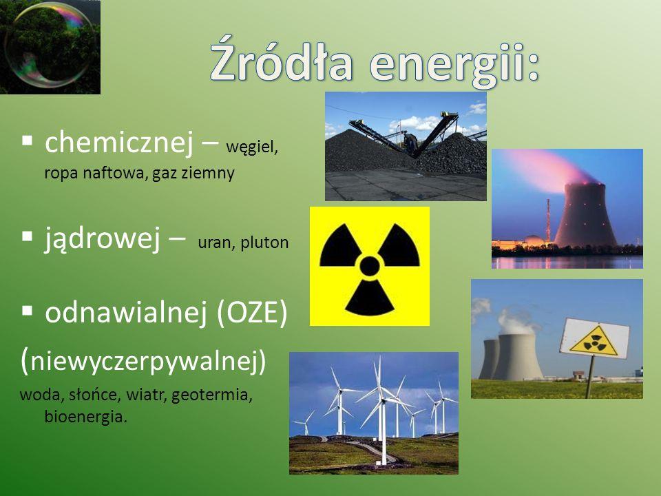 chemicznej – węgiel, ropa naftowa, gaz ziemny jądrowej – uran, pluton odnawialnej (OZE) ( niewyczerpywalnej) woda, słońce, wiatr, geotermia, bioenergi