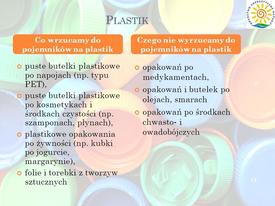 P LASTIK puste butelki plastikowe po napojach (np. typu PET), puste butelki plastikowe po kosmetykach i środkach czystości (np. szamponach, płynach),