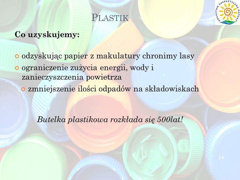 P LASTIK Co uzyskujemy: odzyskując papier z makulatury chronimy lasy ograniczenie zużycia energii, wody i zanieczyszczenia powietrza zmniejszenie iloś
