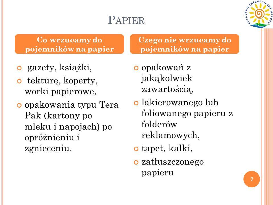 P APIER gazety, książki, tekturę, koperty, worki papierowe, opakowania typu Tera Pak (kartony po mleku i napojach) po opróżnieniu i zgnieceniu. opakow