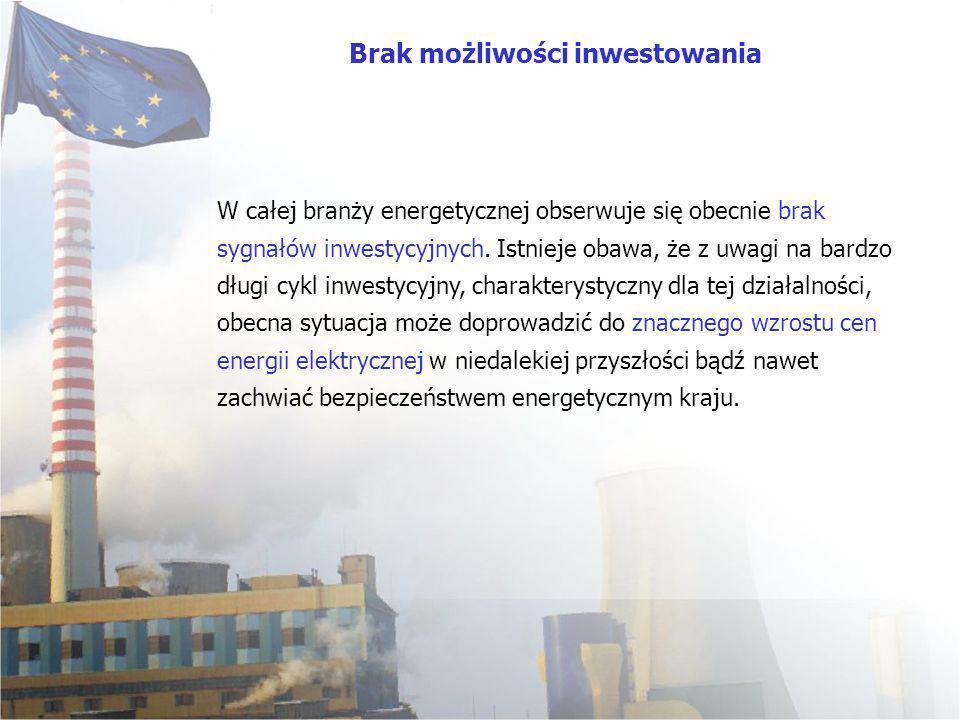 W całej branży energetycznej obserwuje się obecnie brak sygnałów inwestycyjnych. Istnieje obawa, że z uwagi na bardzo długi cykl inwestycyjny, charakt