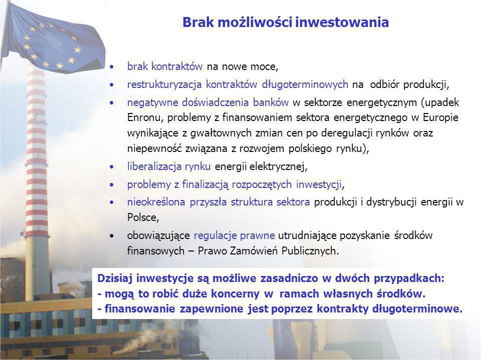 brak kontraktów na nowe moce, restrukturyzacja kontraktów długoterminowych na odbiór produkcji, negatywne doświadczenia banków w sektorze energetycznym (upadek Enronu, problemy z finansowaniem sektora energetycznego w Europie wynikające z gwałtownych zmian cen po deregulacji rynków oraz niepewność związana z rozwojem polskiego rynku), liberalizacja rynku energii elektrycznej, problemy z finalizacją rozpoczętych inwestycji, nieokreślona przyszła struktura sektora produkcji i dystrybucji energii w Polsce, obowiązujące regulacje prawne utrudniające pozyskanie środków finansowych – Prawo Zamówień Publicznych.