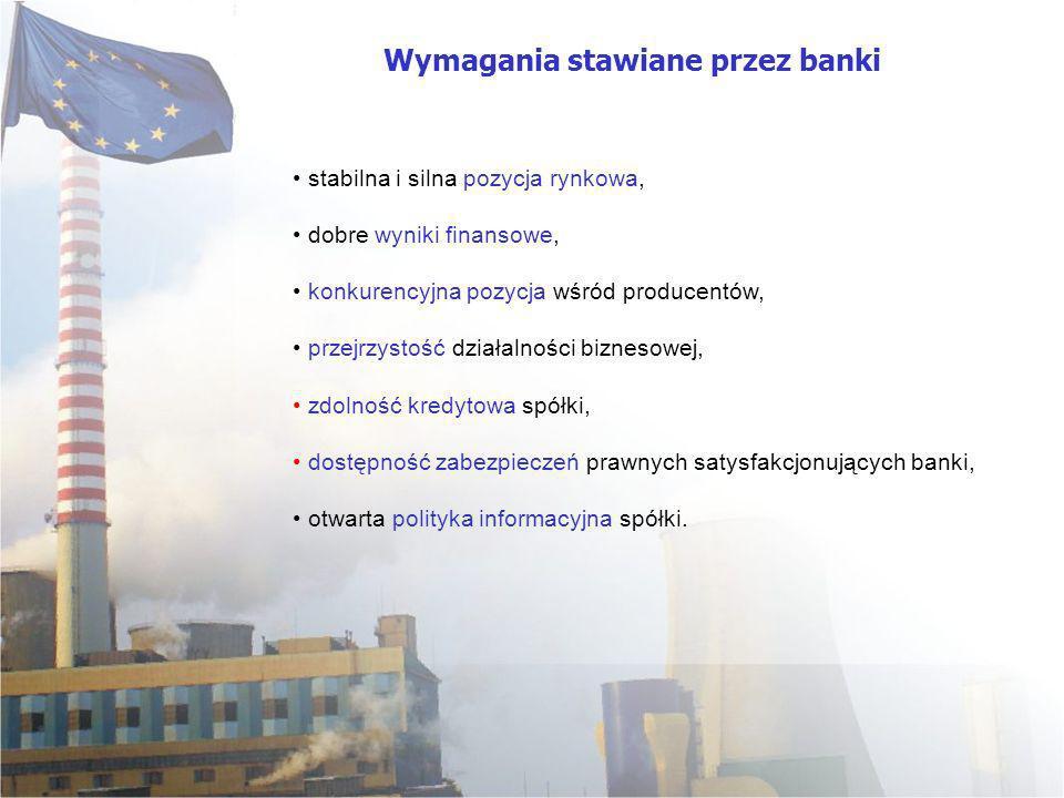 Wymagania stawiane przez banki stabilna i silna pozycja rynkowa, dobre wyniki finansowe, konkurencyjna pozycja wśród producentów, przejrzystość działa