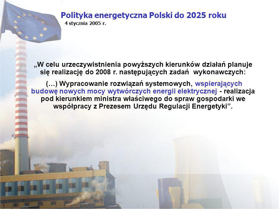 Polityka energetyczna Polski do 2025 roku 4 stycznia 2005 r. W celu urzeczywistnienia powyższych kierunków działań planuje się realizację do 2008 r. n