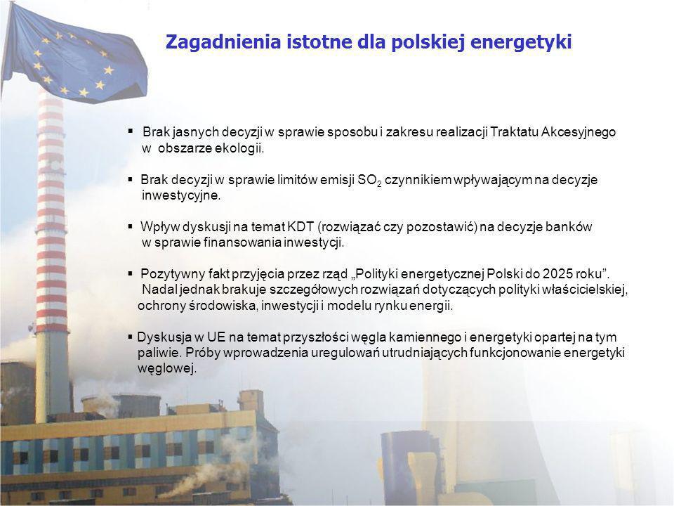 Brak jasnych decyzji w sprawie sposobu i zakresu realizacji Traktatu Akcesyjnego w obszarze ekologii. Brak decyzji w sprawie limitów emisji SO 2 czynn