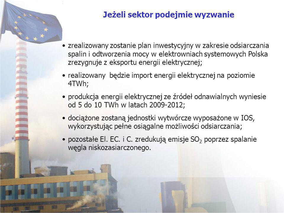 zrealizowany zostanie plan inwestycyjny w zakresie odsiarczania spalin i odtworzenia mocy w elektrowniach systemowych Polska zrezygnuje z eksportu energii elektrycznej; realizowany będzie import energii elektrycznej na poziomie 4TWh; produkcja energii elektrycznej ze źródeł odnawialnych wyniesie od 5 do 10 TWh w latach 2009-2012; dociążone zostaną jednostki wytwórcze wyposażone w IOS, wykorzystując pełne osiągalne możliwości odsiarczania; pozostałe El.