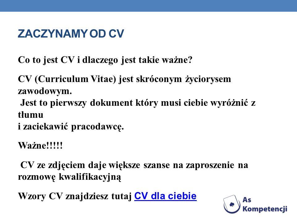 ZACZYNAMY OD CV Co to jest CV i dlaczego jest takie ważne? CV (Curriculum Vitae) jest skróconym życiorysem zawodowym. Jest to pierwszy dokument który