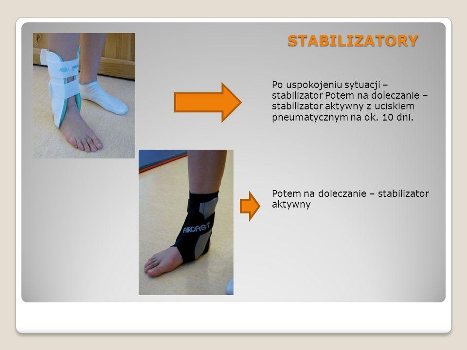 STABILIZATORY Po uspokojeniu sytuacji – stabilizator Potem na doleczanie – stabilizator aktywny z uciskiem pneumatycznym na ok. 10 dni. Potem na dolec