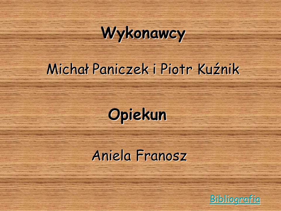 Wykonawcy Michał Paniczek i Piotr Kuźnik Opiekun Aniela Franosz Bibliografia