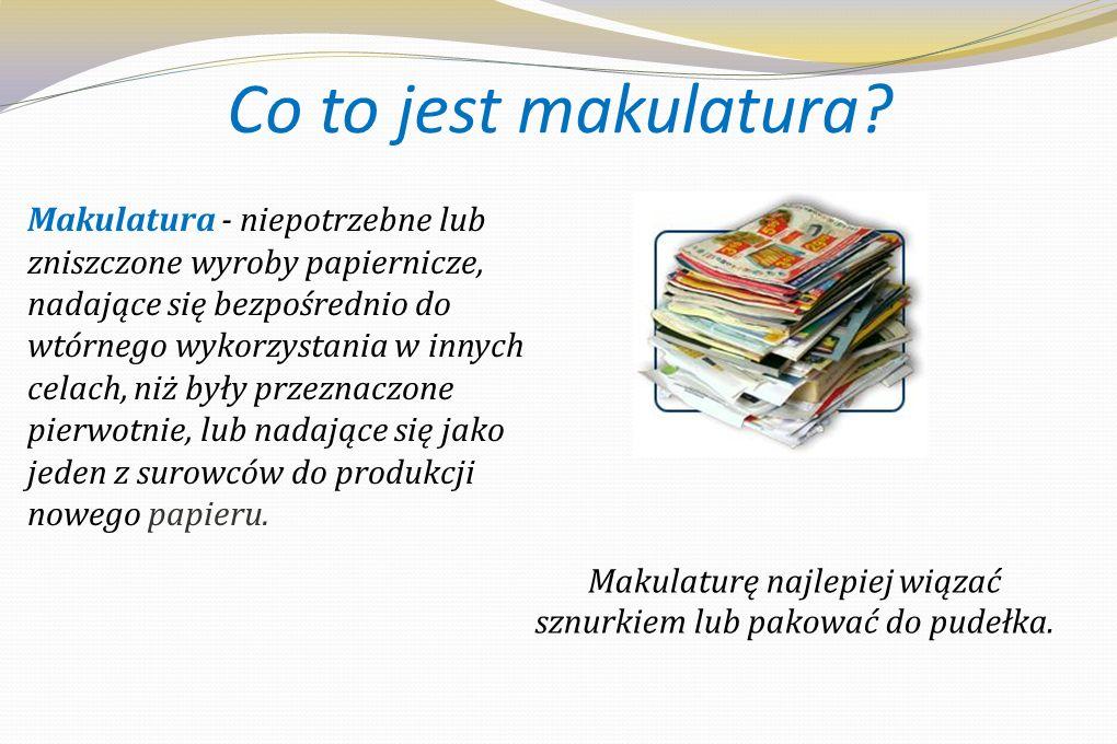 Selektywna zbiórka makulatury: Co zbieramy: gazety, książki i inny papier tekturę, worki papierowe, ścinki drukarskie opakowania wielomateriałowe typu tetra pak (kartony po płynnej żywności) - powinny być opróżnione Nie można wrzucać: opakowań z jakąkolwiek zawartością Bardzo ważne jest, żeby makulatura nie była mokra: wilgotność to istotny parametr jej jakości - oraz aby razem z papierem nie trafiły do pojemnika żadne zanieczyszczenia mechaniczne (np.