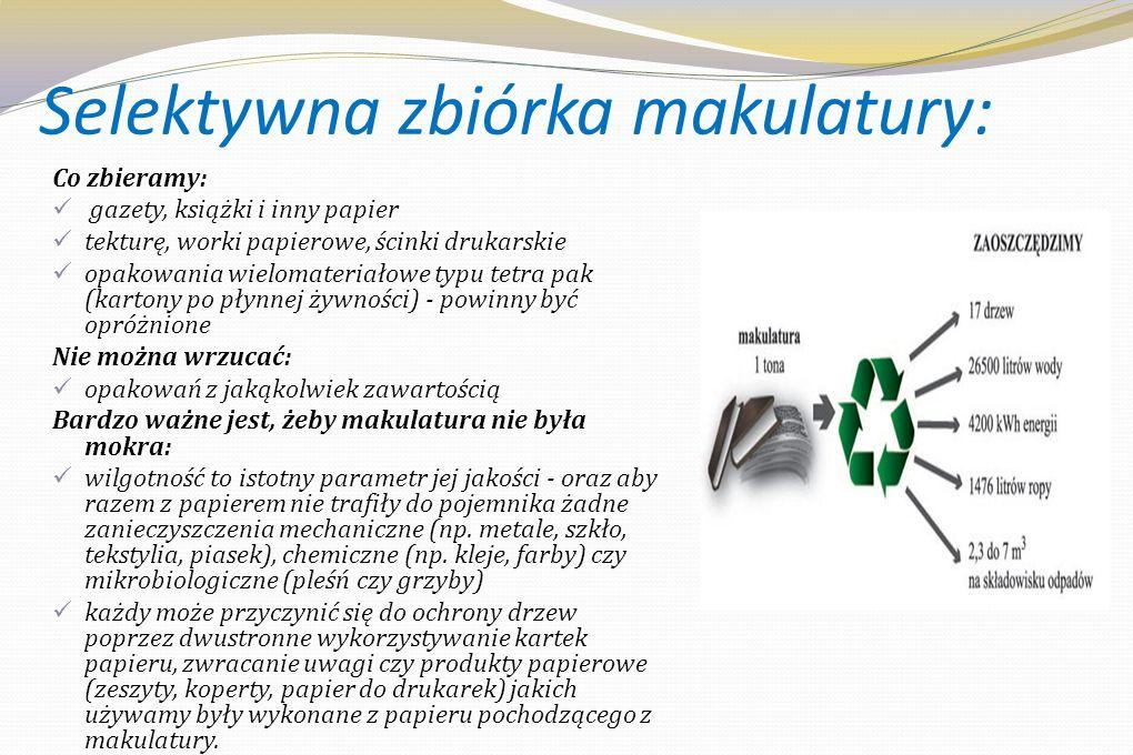 Cykl przetwarzania makulatury Młyn papierniczy miksuje makulaturę i miesza z wodą oraz innymi środkami np.
