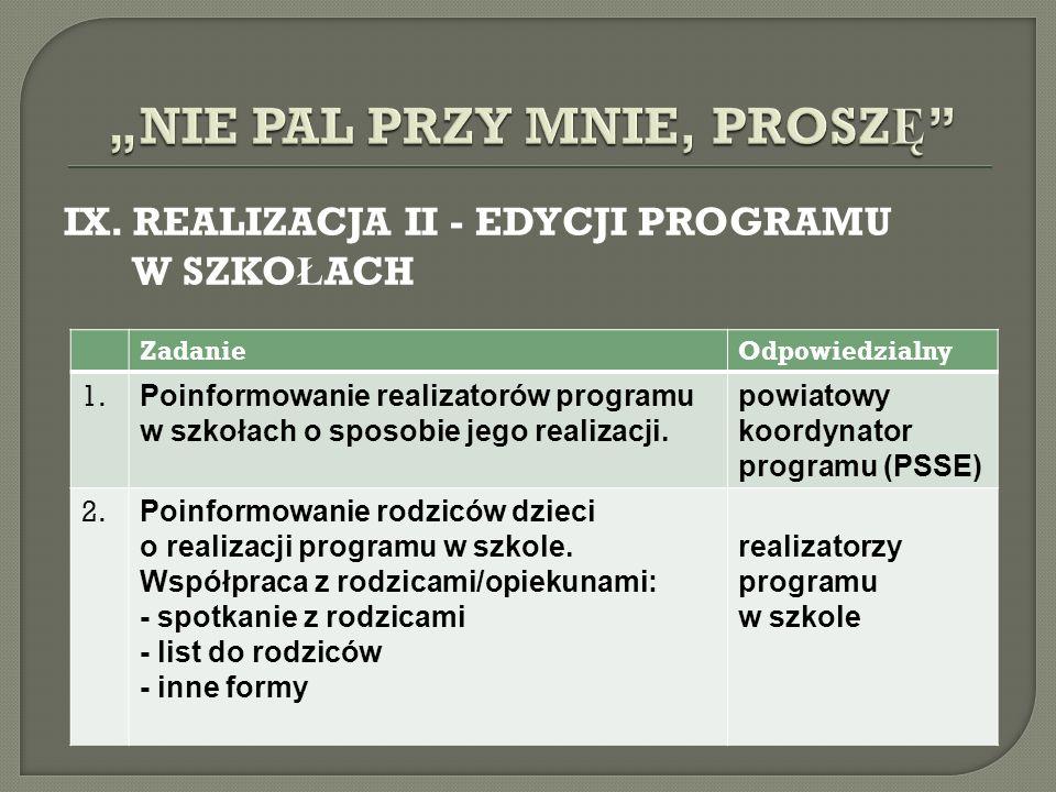 IX. REALIZACJA II - EDYCJI PROGRAMU W SZKO Ł ACH ZadanieOdpowiedzialny 1. Poinformowanie realizatorów programu w szkołach o sposobie jego realizacji.