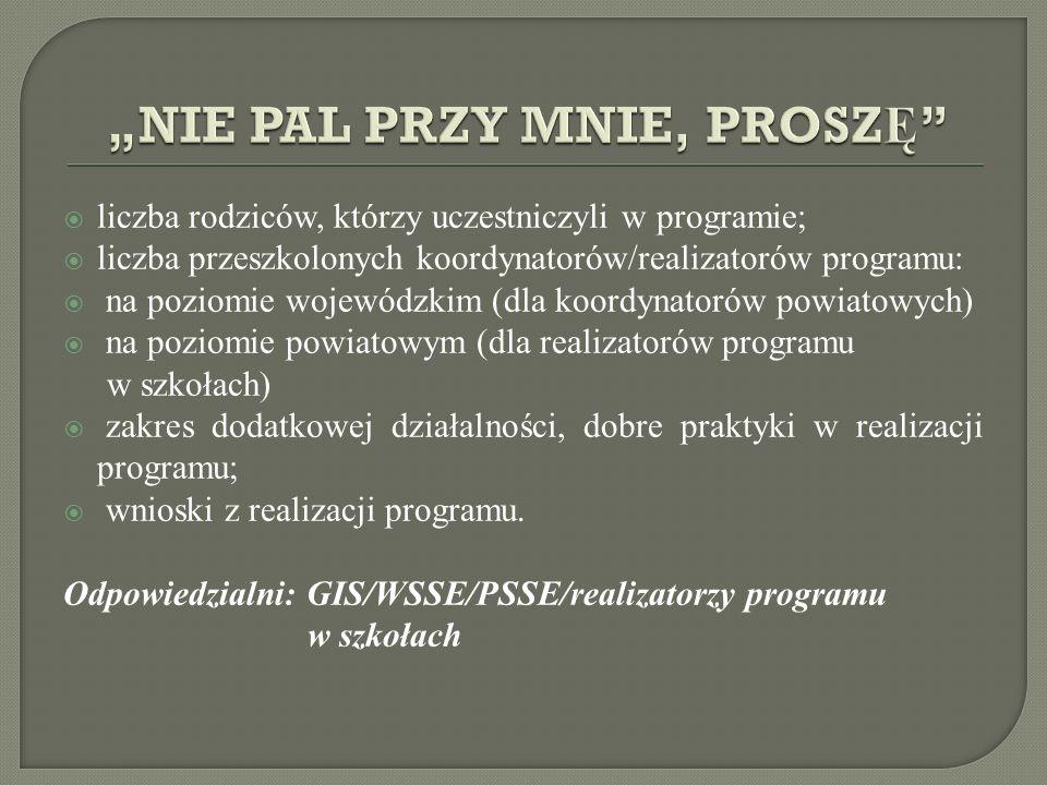 liczba rodziców, którzy uczestniczyli w programie; liczba przeszkolonych koordynatorów/realizatorów programu: na poziomie wojewódzkim (dla koordynator