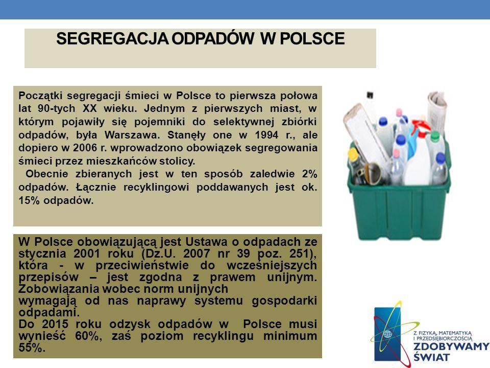 SEGREGACJA ODPADÓW W POLSCE Początki segregacji śmieci w Polsce to pierwsza połowa lat 90-tych XX wieku. Jednym z pierwszych miast, w którym pojawiły