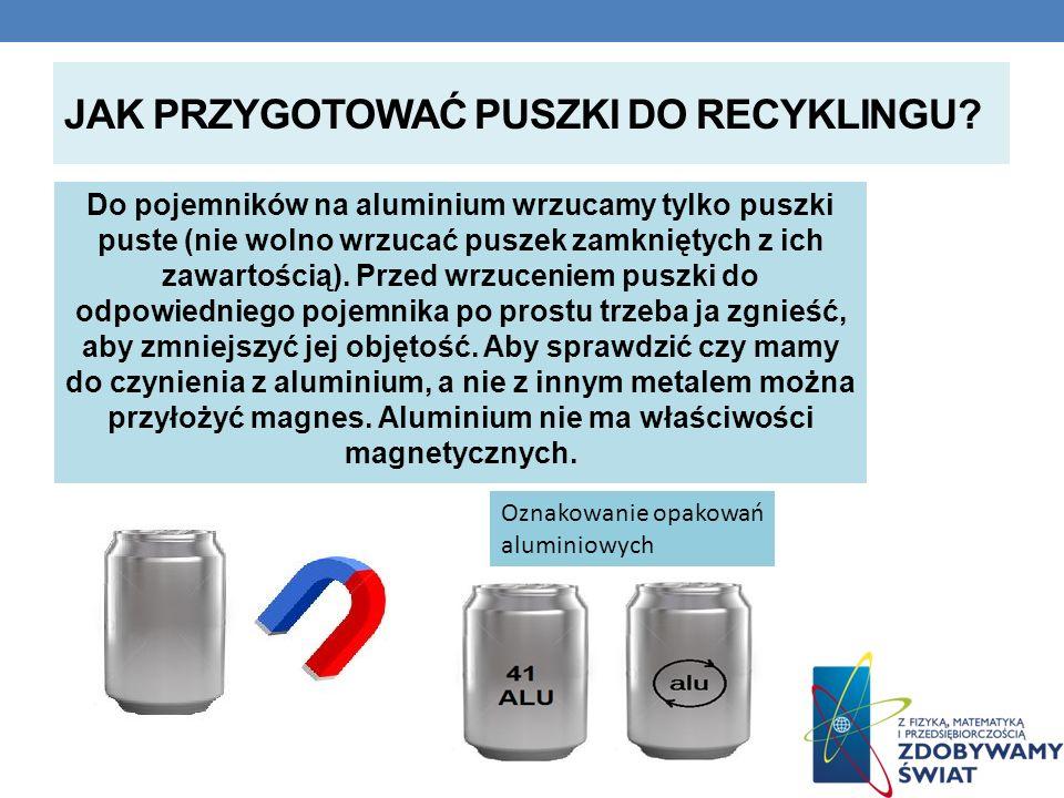 JAK PRZYGOTOWAĆ PUSZKI DO RECYKLINGU? Do pojemników na aluminium wrzucamy tylko puszki puste (nie wolno wrzucać puszek zamkniętych z ich zawartością).
