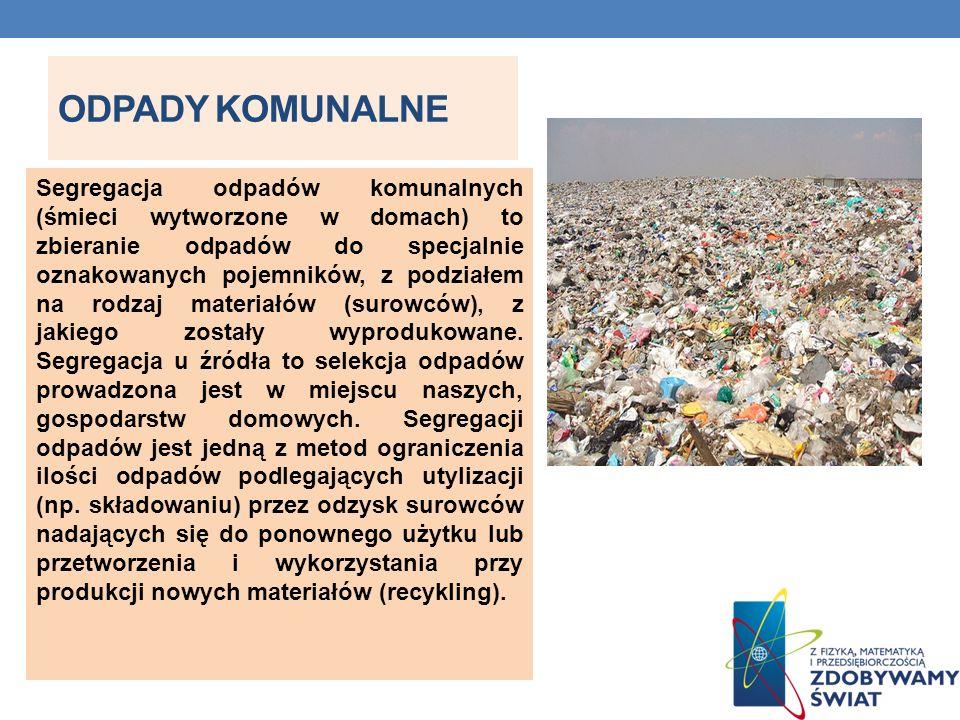 ODPADY KOMUNALNE Segregacja odpadów komunalnych (śmieci wytworzone w domach) to zbieranie odpadów do specjalnie oznakowanych pojemników, z podziałem n
