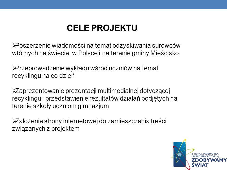 CELE PROJEKTU Poszerzenie wiadomości na temat odzyskiwania surowców wtórnych na świecie, w Polsce i na terenie gminy Mieścisko Przeprowadzenie wykładu