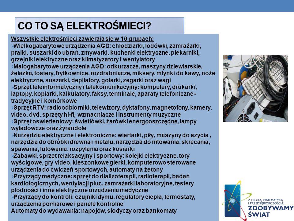 CO TO SĄ ELEKTROŚMIECI? Wszystkie elektrośmieci zawierają się w 10 grupach: Wielkogabarytowe urządzenia AGD: chłodziarki, lodówki, zamrażarki, pralki,