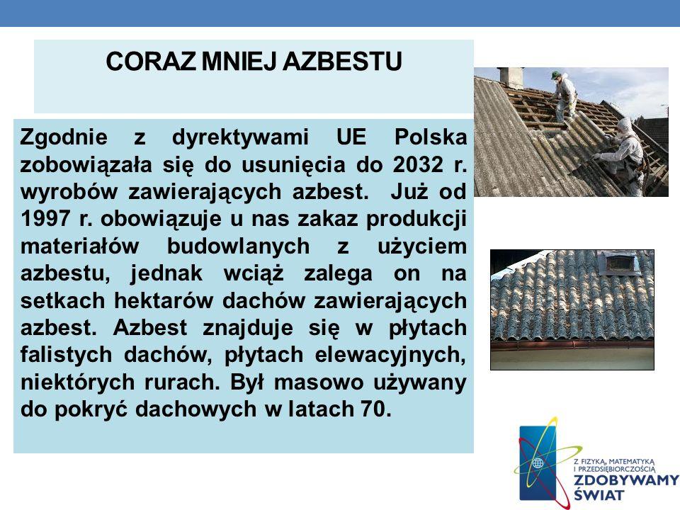 CORAZ MNIEJ AZBESTU Zgodnie z dyrektywami UE Polska zobowiązała się do usunięcia do 2032 r. wyrobów zawierających azbest. Już od 1997 r. obowiązuje u