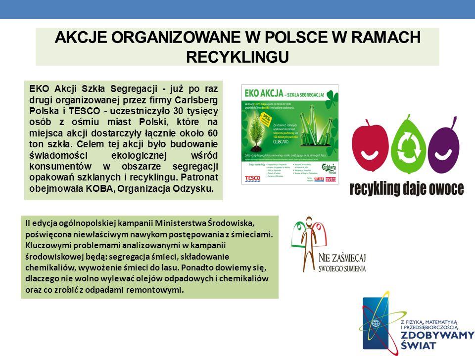 AKCJE ORGANIZOWANE W POLSCE W RAMACH RECYKLINGU EKO Akcji Szkła Segregacji - już po raz drugi organizowanej przez firmy Carlsberg Polska i TESCO - ucz