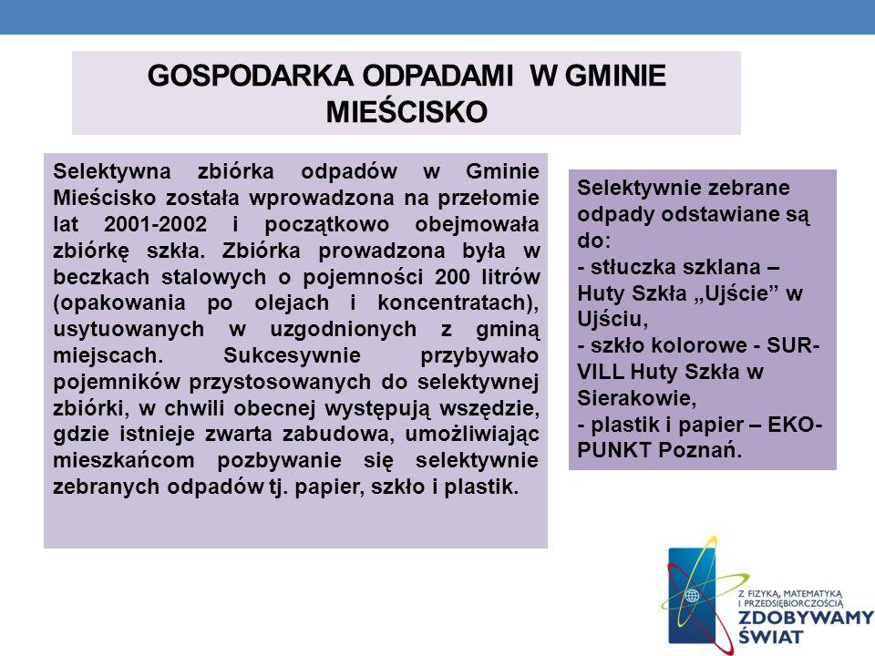 GOSPODARKA ODPADAMI W GMINIE MIEŚCISKO Selektywna zbiórka odpadów w Gminie Mieścisko została wprowadzona na przełomie lat 2001-2002 i początkowo obejm