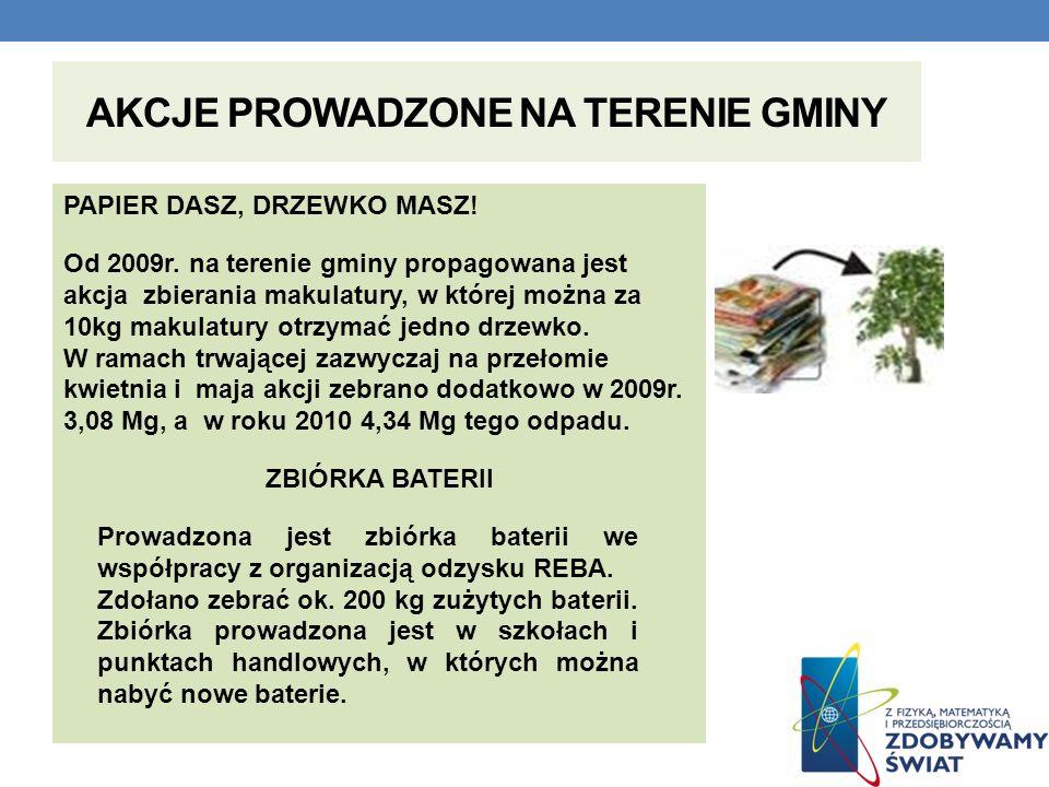 AKCJE PROWADZONE NA TERENIE GMINY PAPIER DASZ, DRZEWKO MASZ! Od 2009r. na terenie gminy propagowana jest akcja zbierania makulatury, w której można za