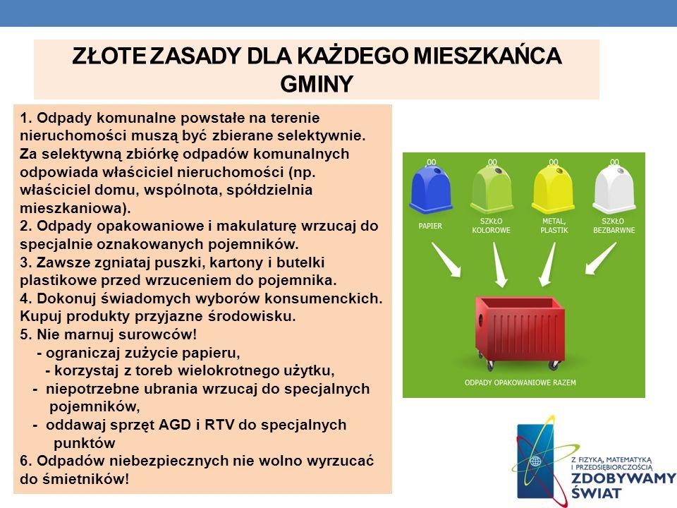 ZŁOTE ZASADY DLA KAŻDEGO MIESZKAŃCA GMINY 1. Odpady komunalne powstałe na terenie nieruchomości muszą być zbierane selektywnie. Za selektywną zbiórkę