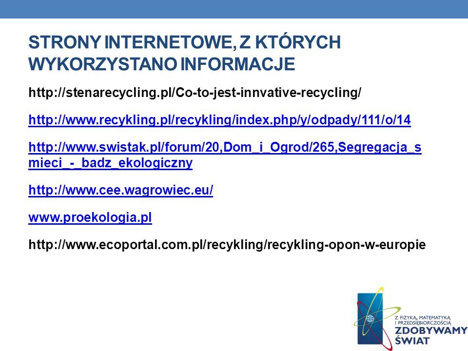 STRONY INTERNETOWE, Z KTÓRYCH WYKORZYSTANO INFORMACJE http://stenarecycling.pl/Co-to-jest-innvative-recycling/ http://www.recykling.pl/recykling/index