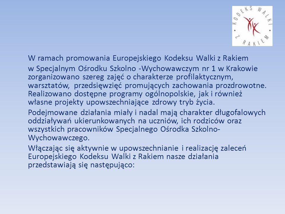 W ramach promowania Europejskiego Kodeksu Walki z Rakiem w Specjalnym Ośrodku Szkolno -Wychowawczym nr 1 w Krakowie zorganizowano szereg zajęć o charakterze profilaktycznym, warsztatów, przedsięwzięć promujących zachowania prozdrowotne.