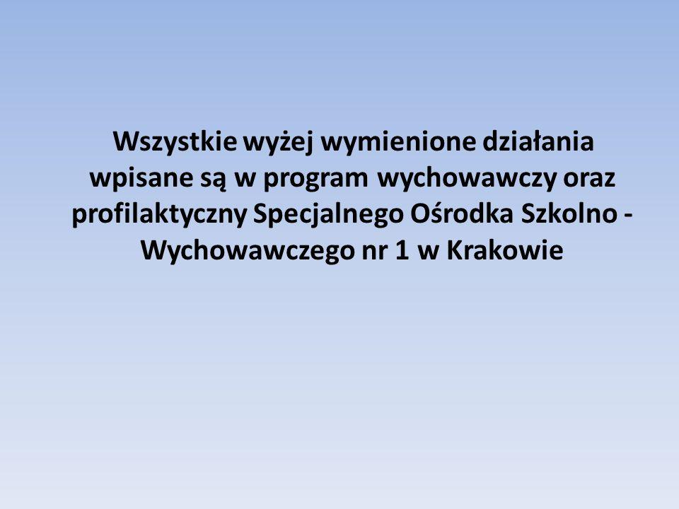 Wszystkie wyżej wymienione działania wpisane są w program wychowawczy oraz profilaktyczny Specjalnego Ośrodka Szkolno - Wychowawczego nr 1 w Krakowie
