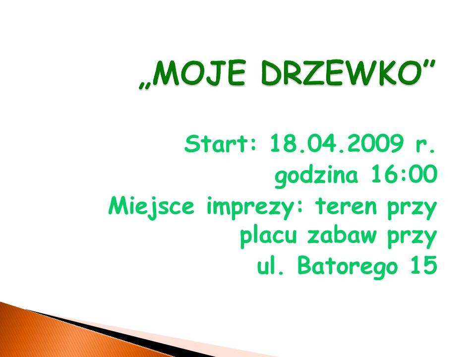 Start: 18.04.2009 r. godzina 16:00 Miejsce imprezy: teren przy placu zabaw przy ul. Batorego 15