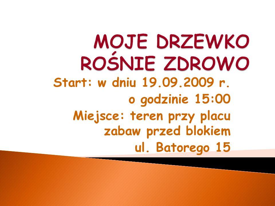 Start: w dniu 19.09.2009 r. o godzinie 15:00 Miejsce: teren przy placu zabaw przed blokiem ul.