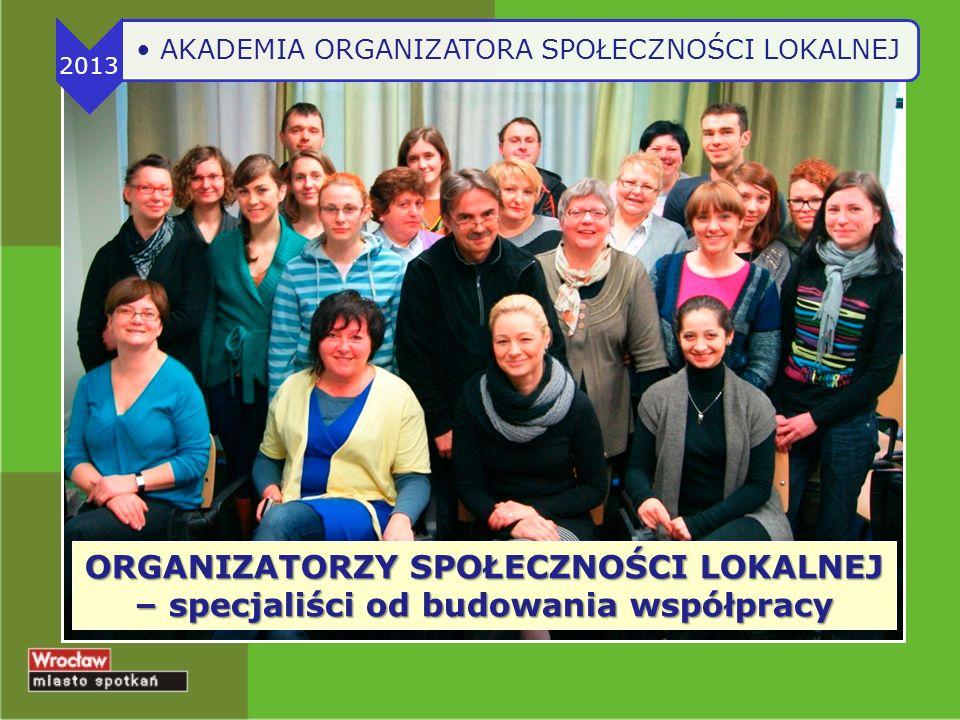 ORGANIZATORZY SPOŁECZNOŚCI LOKALNEJ – specjaliści od budowania współpracy 2013 AKADEMIA ORGANIZATORA SPOŁECZNOŚCI LOKALNEJ