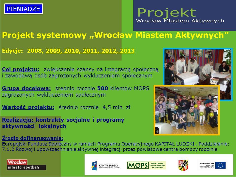 9 Projekt systemowy Wrocław Miastem Aktywnych Edycje: 2008, 2009, 2010, 2011, 2012, 2013 Cel projektu: zwiększenie szansy na integrację społeczną i za