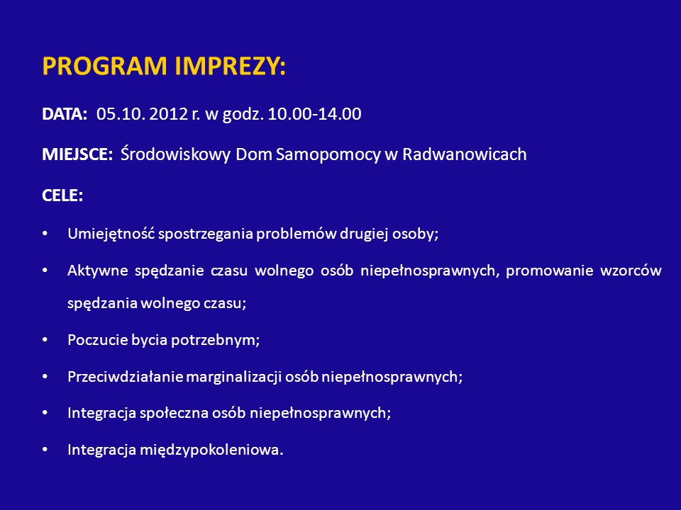 PROGRAM IMPREZY: DATA: r. w godz.