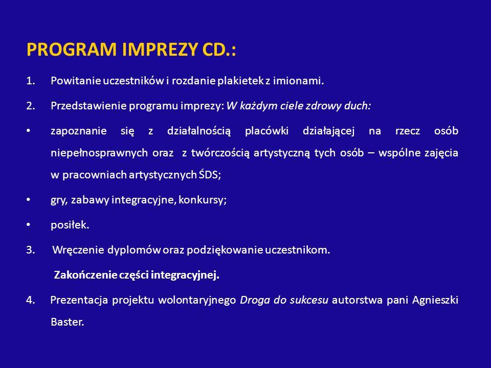 PROGRAM IMPREZY CD.: 1.Powitanie uczestników i rozdanie plakietek z imionami.