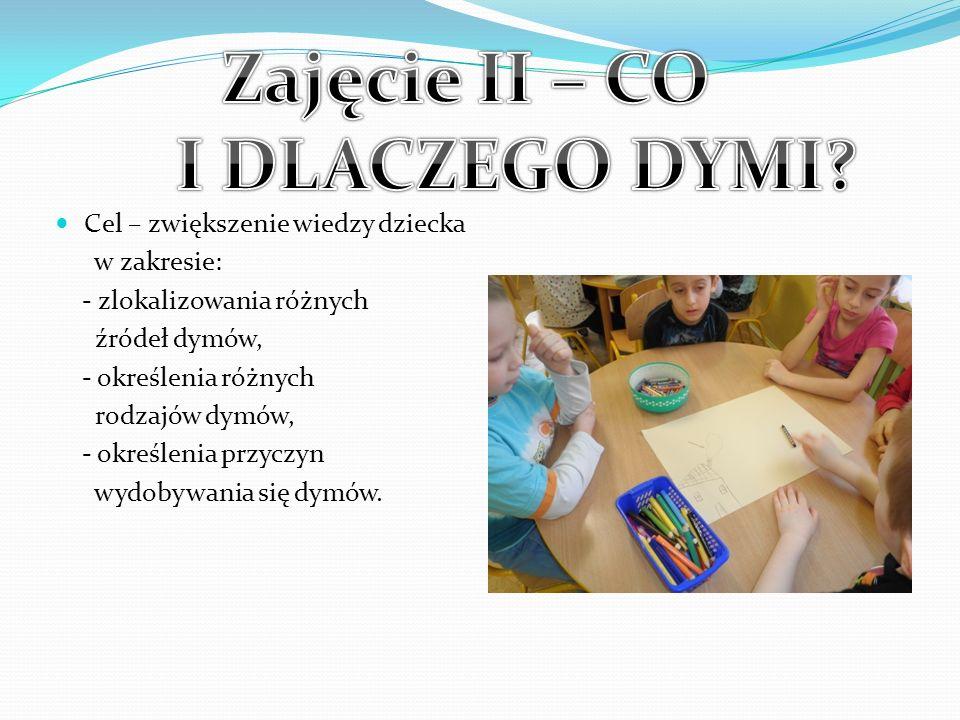 Cel – zwiększenie wiedzy dziecka w zakresie: - zlokalizowania różnych źródeł dymów, - określenia różnych rodzajów dymów, - określenia przyczyn wydobyw