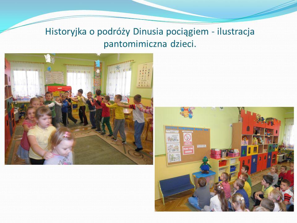Historyjka o podróży Dinusia pociągiem - ilustracja pantomimiczna dzieci.