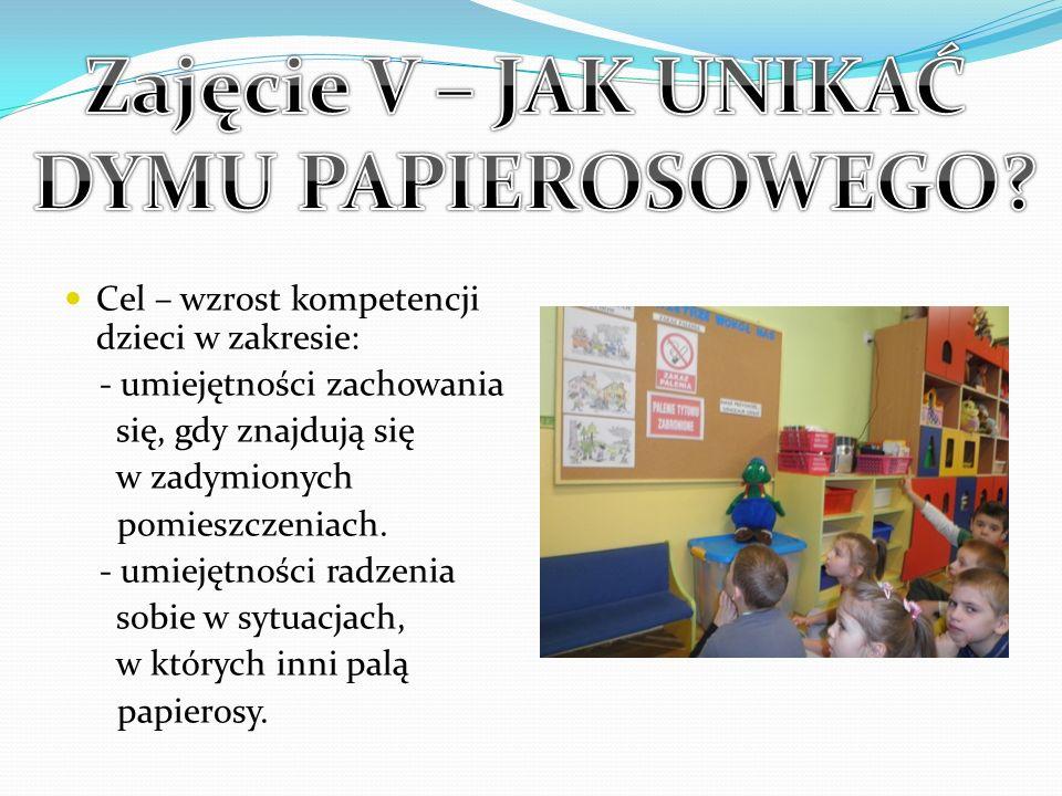Cel – wzrost kompetencji dzieci w zakresie: - umiejętności zachowania się, gdy znajdują się w zadymionych pomieszczeniach. - umiejętności radzenia sob