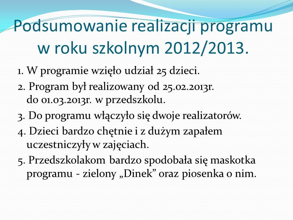 Podsumowanie realizacji programu w roku szkolnym 2012/2013. 1. W programie wzięło udział 25 dzieci. 2. Program był realizowany od 25.02.2013r. do 01.0