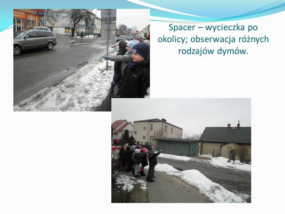Spacer – wycieczka po okolicy; obserwacja różnych rodzajów dymów.