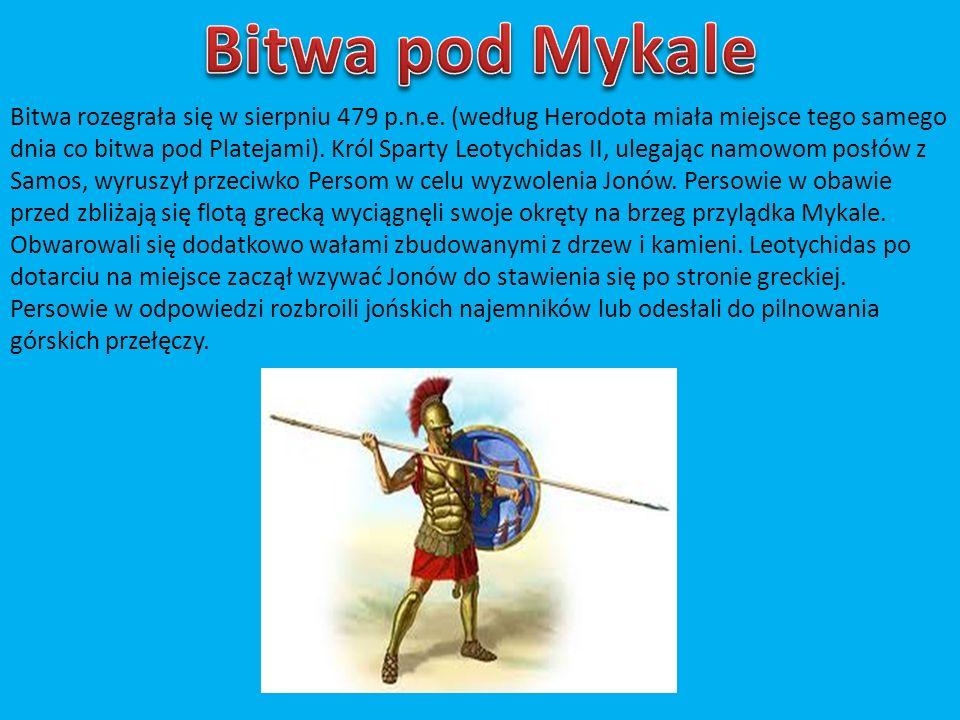 Bitwa rozegrała się w sierpniu 479 p.n.e. (według Herodota miała miejsce tego samego dnia co bitwa pod Platejami). Król Sparty Leotychidas II, ulegają