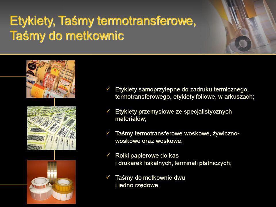 Etykiety samoprzylepne do zadruku termicznego, termotransferowego, etykiety foliowe, w arkuszach; Etykiety przemysłowe ze specjalistycznych materiałów