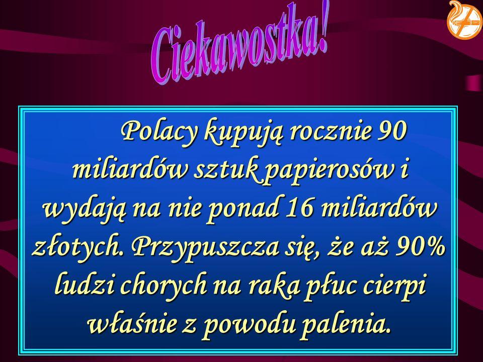 Polacy kupują rocznie 90 miliardów sztuk papierosów i wydają na nie ponad 16 miliardów złotych. Przypuszcza się, że aż 90% ludzi chorych na raka płuc